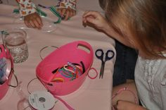 American Girl Doll Party making hair accessories