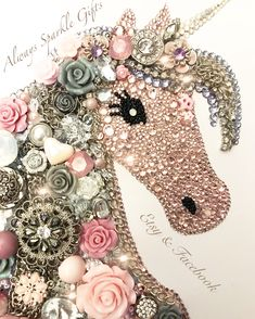 Unicorn mixed media and Button art, baby pink and grey pallet perfect for a baby girls Nursery. Made out of hundreds of rhinestones and quality glass crystals. Contains resin flowers, buttons, beads and recycled jewellery. Available in my Etsy shop ⭐️Always Sparkle Gifts