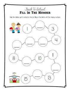 Back-to-School Fill in the Number Printable Activity Alphabet Activities Kindergarten, Preschool Lesson Plans, Free Preschool, Preschool Worksheets, Printable Worksheets, Math Activities, Printables, Free Printable, Thoughts