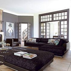 Black home Decor | Black Sofa Home Decorating Ideas Living Room #HomeDecor