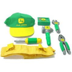 $24.99 - Great for future builders!  This is one complete tool building set. Included are:• Adjustable belt with ?talking? feature.• Four tools that have Easy-grab grips like Dad?s tools; screwdriver, hammer, wrench and pliers.• A cool John Deere cap, how cool is that!•  Don?t forget, this guy talks and here are a couple sayings -  Nothin? runs like a Deere! and It?s time to work on our John Deere tractors • Includes three AAA batteries.• Lightweight and ...