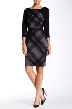 Sangria Long Sleeve Checkered Dress