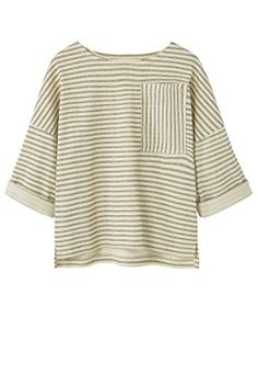 MANGO KIDS - Striped cotton t-shirt - Size:13-14 years - Color:Khaki Cotton fabric, striped design, rounded neck, patch pocket, rolled-up three-quarter sleeves, dropped shoulder seams (Barcode EAN = 8433885817869). http://www.comparestoreprices.co.uk/december-2016-5/mango-kids--striped-cotton-t-shirt--size13-14-years--colorkhaki.asp
