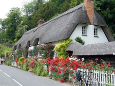 Thatched cottage in Wherwell, a village near Andover in Hampshire, UK