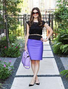 black top, purple skirt, leopard belt