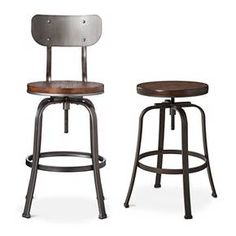 Olson Industrial 24 In Brown Swivel Bar Stool Set Of 2