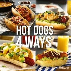 Mexican food recipes - Hot Dogs 4 Ways Dog Recipes, Mexican Food Recipes, Cooking Recipes, Cooking Chef, Meatball Recipes, Easy Cooking, Bread Recipes, Gourmet Hot Dogs, Cucumber Recipes