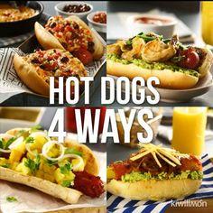 Mexican food recipes - Hot Dogs 4 Ways Dog Recipes, Mexican Food Recipes, Cooking Recipes, Cooking Chef, Meatball Recipes, Easy Cooking, Bread Recipes, Buzzfeed Tasty, Buzzfeed Food