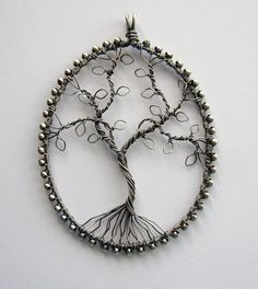 Silver Tree pendant antique finish