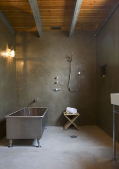 great open shower and water friendly floor . not crazy about the metal tub and would like more natural light . mell lawrence architects