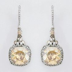 Haute Bride coveted golden shadow drop earrings. Our #1 selling bridal earring & evening wear earring.  Vintage wedding earrings with champagne crystals you will wear again & again.