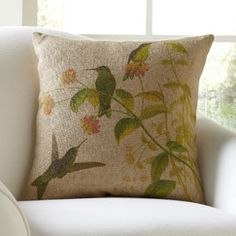 Hummingbirds Burlap Pillow Cover | Burlap offers a rustic touch to this pillow cover, while a trio of hummingbirds and delicate flowers add garden appeal.