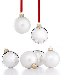 Holiday Lane Christmas Ornament, Set of 6 Silver Balls - Christmas Ornaments - Holiday Lane - Macy's