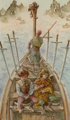 Six of Swords - Vikings Tarot by Manfredi Toraldo, Sergio Tisselli