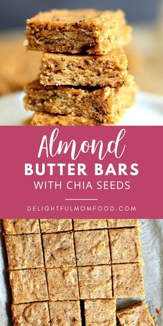 Combine almond butter and chia seeds for a healthy blondie bar snack recipe that's gluten free, refined sugar free, and packed with heart healthy fats! Add your favorite marmelade or jam for sweetness and a chewy texture to die for! You will love baking up these healthy sweet treats for a snack or dessert that your kids and family will love! #blondierecipes #healthydesserts #glutenfreebaking #almondbutterbars #healthysnackrecipes Flour Recipes, Bar Recipes, Yummy Recipes, Baking Recipes, Snack Recipes, Dessert Recipes, Homemade Desserts, Healthy Desserts, Delicious Desserts