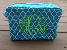 Monogrammed Quatrefoil Cosmetic Bag, Makeup Bag, Bridesmaid Gift