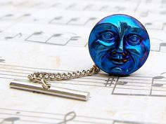Midnight Blue Moon - Czech glass button tie tack
