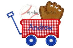 Machine Embroidery Design Applique Baseball Wagon by tmmdesigns, $4.00