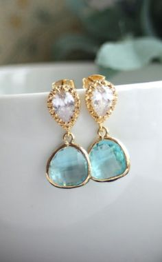 Aquamarine Glass Gold Jewels Earrings. Wedding Jewelry, Bridesmaid Gift. Something Blue Wedding | By Marolsha