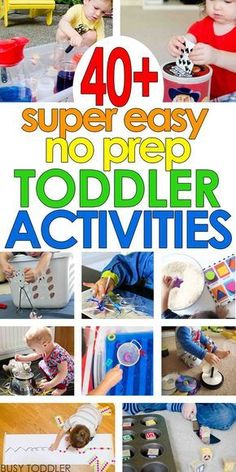 SUPER EASY TODDLER ACTIVITIES: You've got to see this list of quick and easy, no-prep toddler activities. Perfect for rainy days and inside play. Easy activities for toddlers and preschoolers. for toddlers Super Easy Toddler Activities Toddler Learning Activities, Infant Activities, Preschool Activities, Activities For 4 Year Olds, Indoor Activities For Toddlers, Rainy Day Activities For Kids, Crafts For 2 Year Olds, Easy Toddler Crafts 2 Year Olds, Easy Crafts For Toddlers
