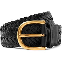 TOM FORD 4cm Black Woven Leather Belt ($790) ❤ liked on Polyvore featuring men's fashion, men's accessories, men's belts, mens real leather belts, mens leather belts, mens leather accessories, mens woven leather belt and mens braided belts