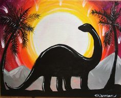 How To Paint A Dinosaur Silhouette - Step By Step Painting. Easy painting for the absolute beginner and kids! #kidspainting #stepbysteppainting