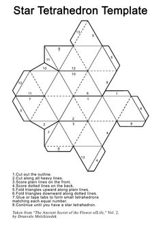 Star Tetrahedron Printout Template – Universe of Ones Star Template, Origami Templates, Origami Paper, Diy Paper, Matchbox Crafts, Platonic Solid, Math Art, Paper Stars, Paper Folding