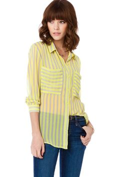 Lawrence Blouse in Yellow Grey / ShopSosie #blouse #yellow #grey #stripes #chiffon #oversized #shopsosie