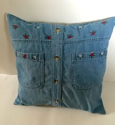 Recycled vintage blue jeans denim shirt upcycled into this beautiful one of a kind 16 X 16 inch pillow sham, beautiful embroidered flowers, 2 patch