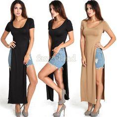 Hot Fashion NEW Womens long summer casual gypsy tee Long dress party bandage dress swim wear maxi shirt dress 41