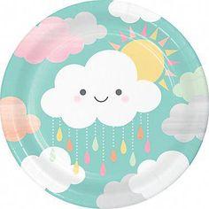 Cloud Party Napkins - Sunshine Baby Shower, Cloud Baby Shower, You are my Sunshine, Rainbow Baby Sho Baby Shower Lunch, Baby Shower Plates, Cloud Party, Baby Shower Party Supplies, Baby Shower Themes, Cloud Baby Shower Theme, Barbie Em Paris, Party Mottos, Sunshine Baby Showers
