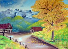 Picturi in ulei Acrylic Canvas, Landscape Paintings, Mandala, Autumn, Drawings, Pictures, Crafts, Image, School