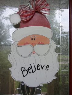 Santa Clause door Hanging christmas by samthecrafter on Etsy, $35.00