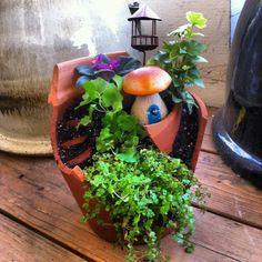 Fairy Garden made out of a broken clay pot!