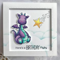 My Favorite Things – Magical Dragons My Favorite Things – Cloud stencil Stamping Bella – Unicorn Add-ons (star) Copic Markers . Unicorn Birthday Cards, Dragon Birthday, Birthday Cards For Boys, Homemade Birthday Cards, Homemade Cards, Easter Show, Cloud Stencil, Dinosaur Cards, Purple Cards
