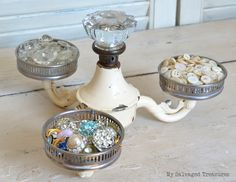 Three coasters lamp tray, by My Salvaged Treasures, featured on Funky Junk Interiors