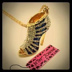 "Betsey Johnson Swaroski Crystal Heel Necklace Betsey Johnson Swarovski crystal Blue Enamel High heel pendant Necklace .. Length of necklace: 28.34"" ... Pendant size: 2.36"" ? 1.57"" ? 0.59"" Gorgeous ? Betsey Johnson Jewelry Necklaces"