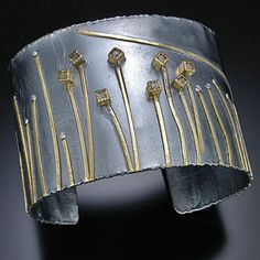 Cuff | Todd Reed. sterling silver with patina, 18k gold, and diamonds