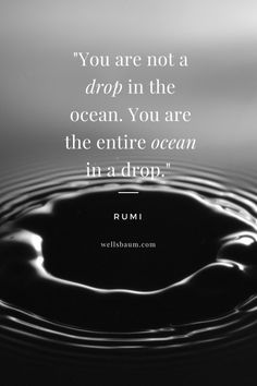 Rumi: You are not a drop in the ocean. You are the entire ocean in a drop.