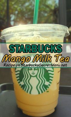 Starbucks Mango Milk Tea! All it's missing is pearls! #StarbucksSecretMenu Mango Milk Tea Recipe, Milk Tea Recipes, Mango Tea, Mango Drinks, Coffee Recipes, Drink Recipes, Mango Recipes, Milkshake Recipes, Cat Recipes