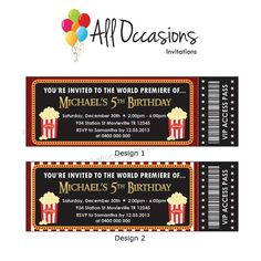 This site has several cute vintage movie ticket designs for a cute ...