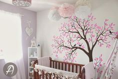 Large tree and birds wall decal for nursery by TheAmeliaDesigns