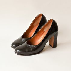 Vintage 60s Leather Couture Heels now featured on Fab.