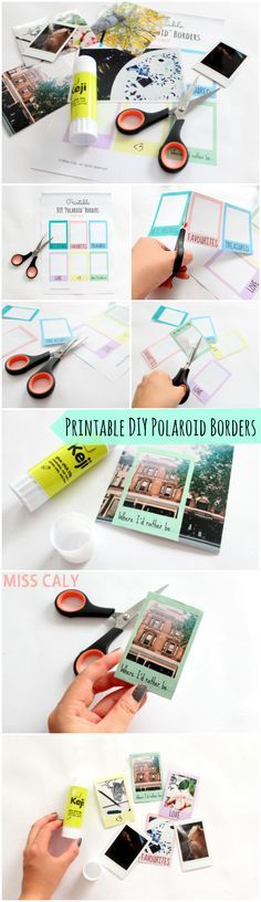 Free printable DIY polaroid borders - What a cute idea for crafts or your scrapbook!