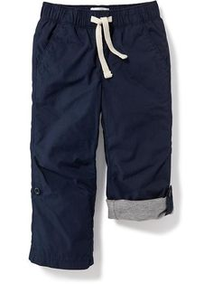 SIZE 2T Jersey-Lined Poplin Pants for Toddler Boys