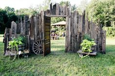 Reclaimed Barn Wood wall built by Father of Bride.