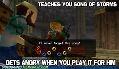 """In The Legend of Zelda: Ocarina of Time, adult Link learns the """"Song of Storms"""" from the Windmill Man, who claims that he learned the tune from a boy. But then you go back in time and teach the man the song -- where did the song come from? Video Game Logic, Link And Learn, Hyrule Warriors, Smosh, Link Zelda, Legend Of Zelda, Mind Blown, Videogames, Nerdy"""