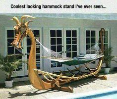 Funny pictures about Viking Boat Hammock. Oh, and cool pics about Viking Boat Hammock. Also, Viking Boat Hammock photos. Backyard Hammock, Hammock Chair, Hammock Stand, Backyard Landscaping, Hammock Ideas, Hammock Frame, Wooden Hammock, Diy Hammock, Portable Hammock