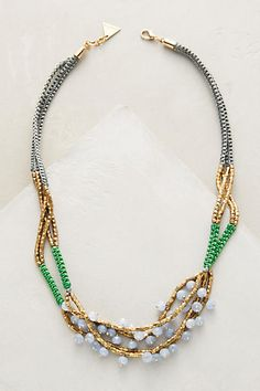 Anthropologie Ciel Neck    Cotton, glass, metal. Lobster clasp. Handmade in USAlace