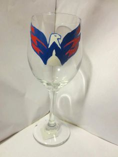 Washington Capitals Painted Wine Glass by PinkDaisy89 on Etsy, $20.00